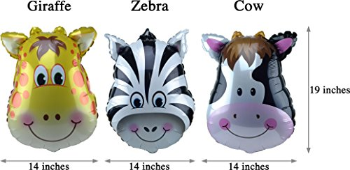 Jungle Animals Foil Latex Balloons Birthday Party Decorations Lion Tiger Monkey Zebra Giraffe Cow SAFARI ZOO Cupcake Toppers Pack of 34 by SAKIBO (Image #5)