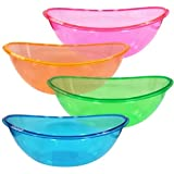 Set of 4-80 Oz. Oval Plastic Contoured Serving Bowls, Party Snack or Salad Bowl, Assorted Colors