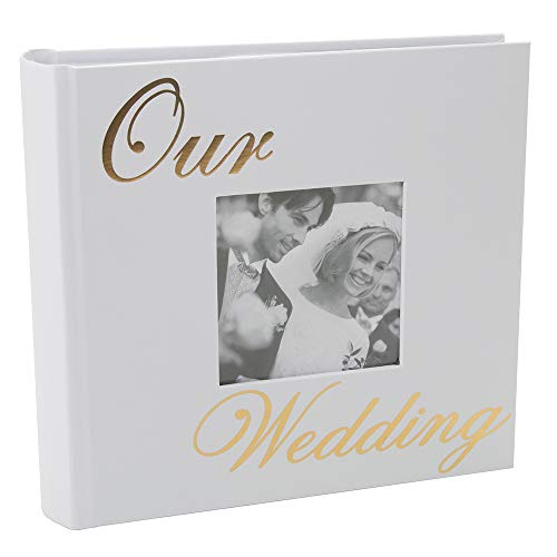 (Happy Homewares Modern White Wedding Day Photo Album with Gold Foil Text - Holds 80 4x6 Pictures Idea)