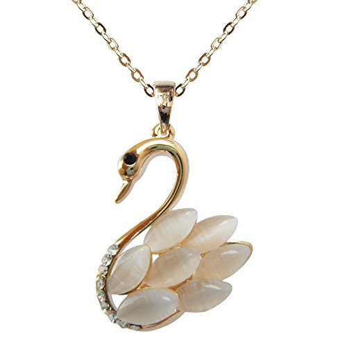 Navachi 18k Yellow Gold Plated Swan Bird Created-Opal Crystal Pendant Necklace 16+2
