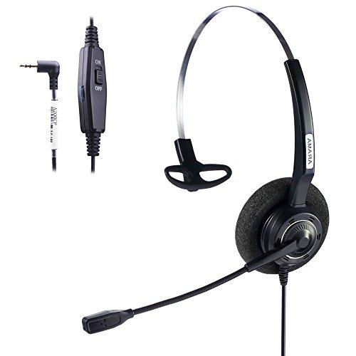 Arama 2.5mm Phone Headset w/ Noise Canceling Boom Mic In-line Volume Mute-Switch for Panasonic Cordless Phones and Grandstream Polycom Cisco Linksys SPA Panasonic Gigaset ( 2.5-Black-Mono)