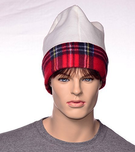 XXL Beanie Cap Watchman Style Cream and Red Plaid Extra Large Christmas Plaid