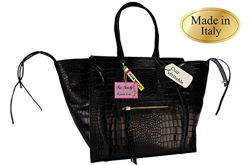 Handtasche damen Echtleder Aspekt Echsenprägung, schwarz Schulter Schulterriemen nicht teuer Déstockage Fabrik Discount Tasche Sandy
