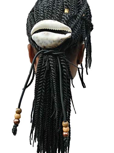 Masai Tiger Cowrie Shell Dreadlock Rope, Ponytail Holder, 5mm Elastic Hair Tie, Dress Your Tress ()