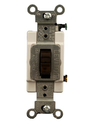 Leviton CS315-2 15 Amp, 120/277 Volt, Toggle 3-Way AC Quiet Switch, Commercial Grade, Grounding, Brown
