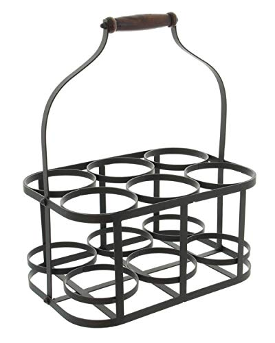 6-Bottle Metal Rack Basket Caddy Holder, Wine Carrier with Wood Handle Product SKU: HD222048 ()