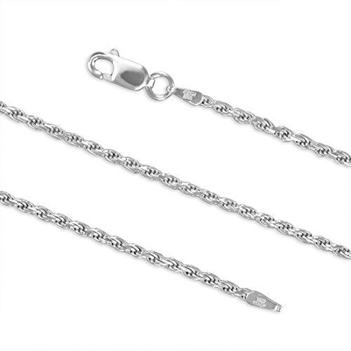 Sterling Silver 1.7mm Diamond-Cut Rope Chain Bracelet Solid Italian Nickel-Free, 7 Inch