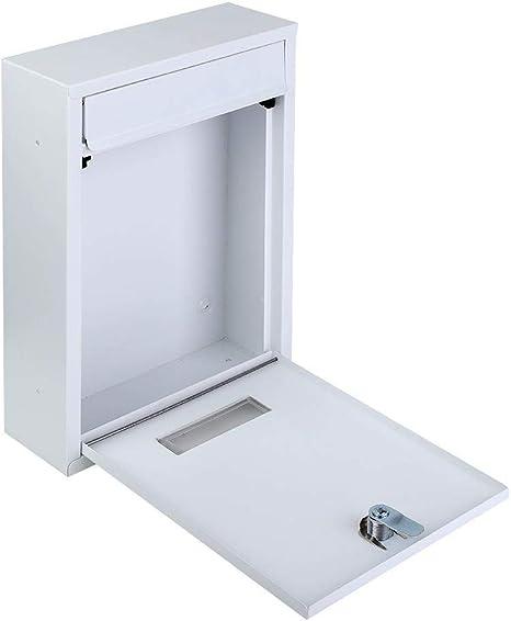 EBTOOLS con Cerradura de Seguridad para la Oficina en casa Resistente a la Intemperie de Hierro Buz/ón de Correo con Cerradura Color Negro para Pared