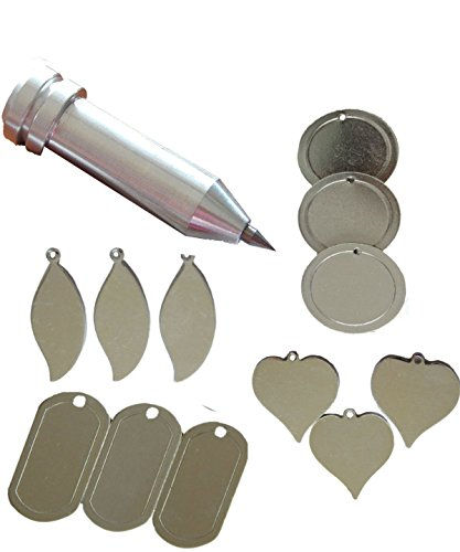 Precision Engraving Tool for the Cricut MAKER and EXPLORE by Chomas Creations and 12 Stamping Blanks: Round, Heart,Leaf and Dog Tags (13 pieces) by Big Dream Arts and Parties