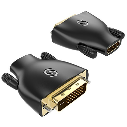 High Speed HDMI to DVI Adapter - Syncwire [2-Pack] Gold Plated Bi-directional DVI to HDMI Adapter, Male to Female Converter for Fire TV, Apple TV, 2160p, 1080p, 3D, Xbox PlayStation PS3 PS4 PC -Black by Syncwire