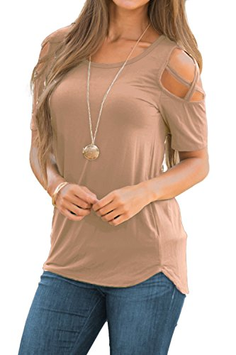 Brown Strappy Dress - PINKMILLY Womens Casual Summer Short Sleeve Loose Strappy Cold Shoulder Basic T Shirt Blouse Tops Light Coffee X-Large