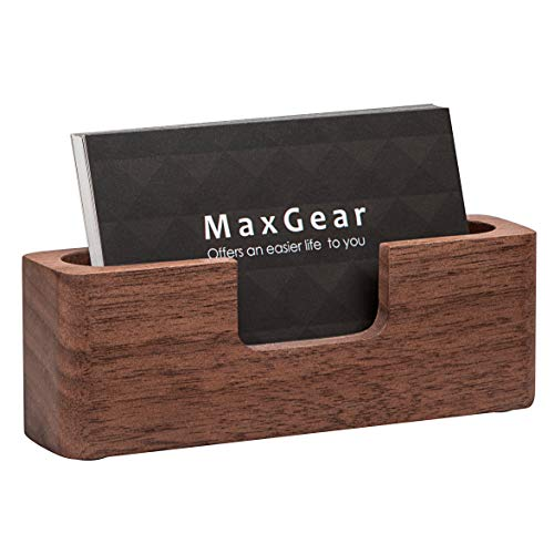 d Holder Wood Business Card Holder Desk Business Card Display Holder Walnut Cards Case for Desk Wooden Name Card Stand for Tables, Rectangle ()