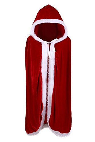 Mask Of The Red Death Costumes (Phyxin Women Christmas Cloak Mrs Santa Velvet Hooded Cape Custome L)