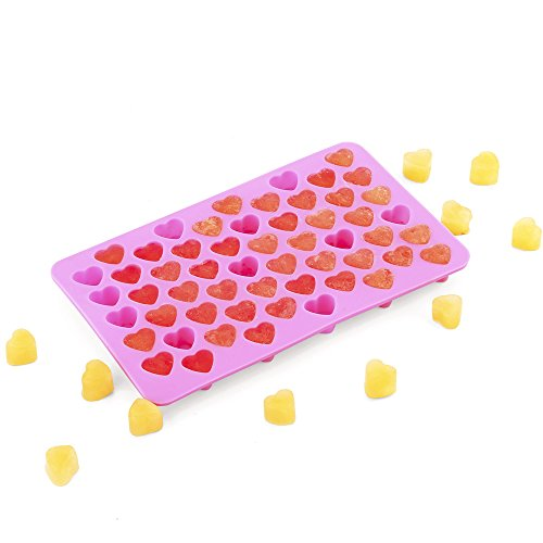 55 Mini Hearts Shape Silicone Molds for Ice Cube Tray, Candy,Chocolate Cookie, DIY Backing Tool- Food Grade Silicone, BPA Free for Dog, Kid, (Candy Heart Treat)