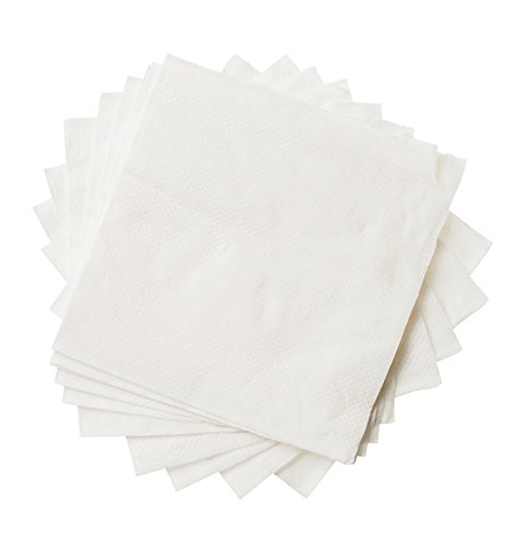 Crystalware, Beverage Paper Napkins, 1 Ply Cocktail Napkin, Bulk Package, 500/bag, White (Food Bar Tabletop)