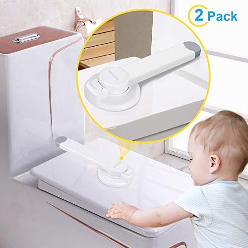 McKain Toilet Locks Child Safety - Bathroom Baby Proof Toilet Lid Lock for Children Under 3 Years No Tools Needed Easy Installation (2 packs)