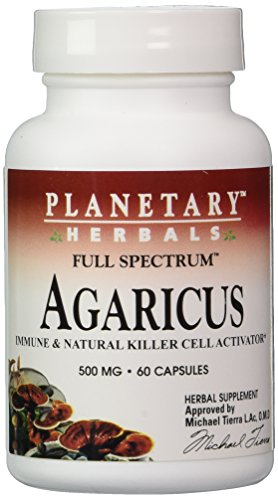 Planetary Herbals Agaricus Extract Full Spectrum Capsules, 500 mg, 60 Count