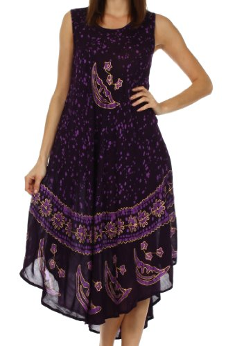 Sakkas B900 Batik Moon and Stars Caftan Tank Dress / Cover Up - Eggplant - One Size (Eggplant Stars)