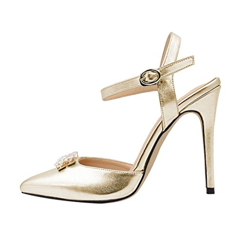 Guoar Women's Pointed Toe High Heels Ankle Strap Sandals Ladies Pumps Shoes For Party Dress Gold US 11