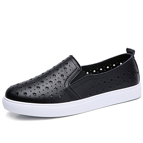 Leather Tennis On Loafers HKR White Sneakers Out Comfort Slip Sole Driving Womens Black hollow Shoes Casual SxwqR5wF