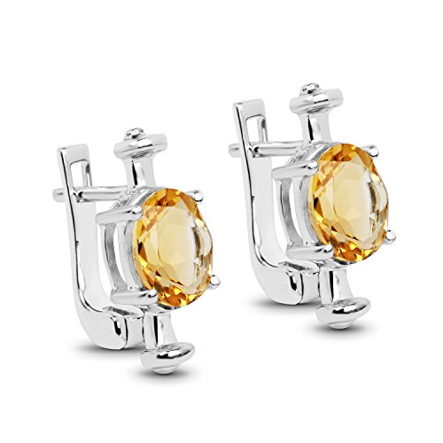 Johareez Citrine Stud Earrings in 925 Sterling Silver