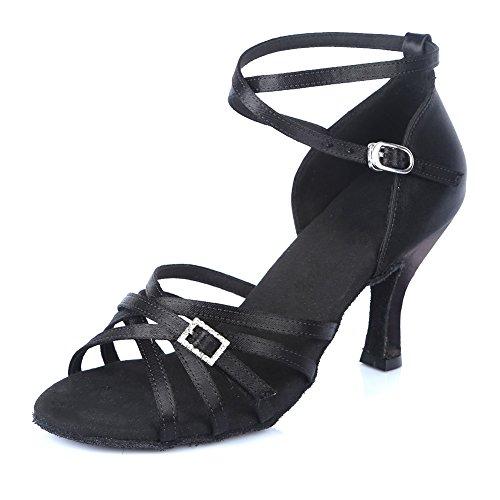 Roymall Women Satin Latin Dance Shoes Ballroom Salsa Tango Performance Schoenen, Model Af402 Zwart