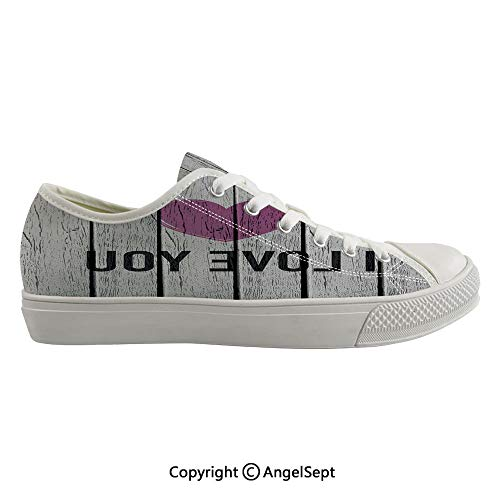 Durable Anti-Slip Sole Washable Canvas Shoes 16.53inch Love You Typography on Wooden Planks Rustic Symbolic Celebration Picture,Fuchsia Pale Grey Flexible and Soft Nice Gift ()