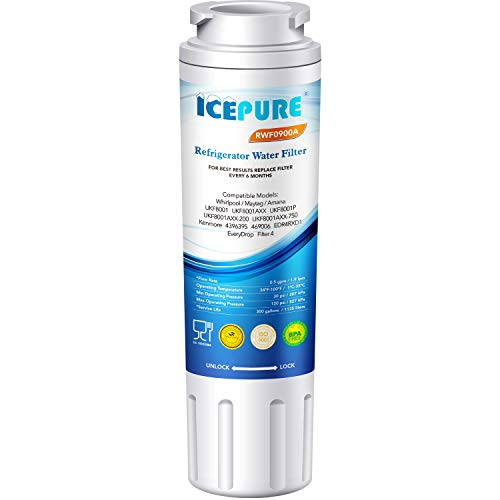 Refrigerator Water Replacement Filter - ICEPURE Refrigerator Water Filter, Compatible with Maytag UKF8001, UKF8001AXX, UKF8001P, Whirlpool 4396395, 469006, EDR4RXD1, EveryDrop Filter 4, Puriclean II, RWF0900A 1PACK