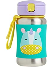 Skip Hop Toddler Sippy Cup Transition Bottle: Stainless Steel Bottle with Straw, Unicorn