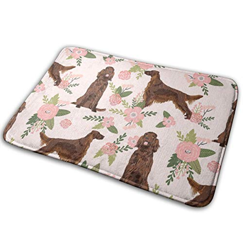 Mascin Doormat Custom Entrance Non Slip Irish Setter Dog Floral Print - Peach Florals, Flower, Cute Dog_758 Door Mat Indoor/Outdoor 16 x 24 Inch,40 cm x 60 cm