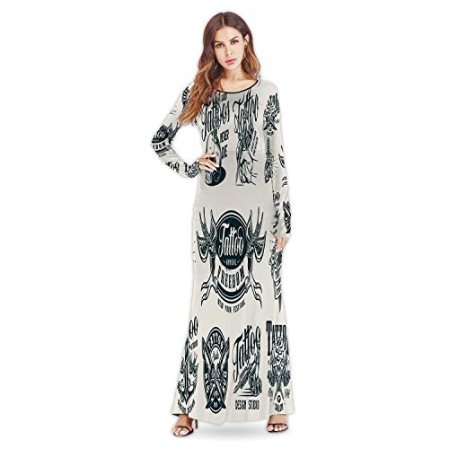 C COABALLA Hand Painted Mixed Acrylic Paints Europe Fashion Elegant Lady Dress,a40177for Party,M