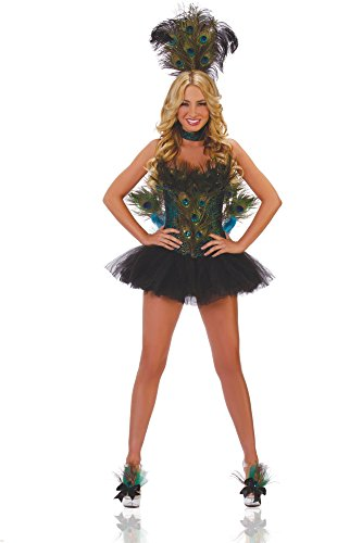 Starline Women's Sexy Peacock 5 Piece Deluxe Costume Corset Set, Blue/Green, Small
