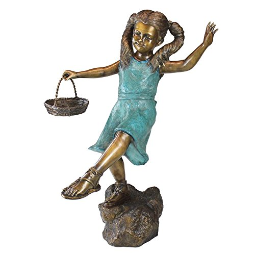 Girl with Basket Bronze Garden Statue