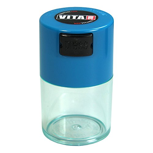 Vitavac - 5g to 20 grams Airtight Multi-Use Vacuum Seal Portable Storage Container for Dry Goods, Food, and Herbs - Light Blue Cap & Clear Body
