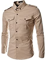 THELEES Mens Casual Slim Fit Strap Big Pocket Shirts