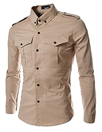 TheLees (RN316) Mens Casual Slim Fit Strap Big Pocket Shirts Beige US XS(Tag size M)