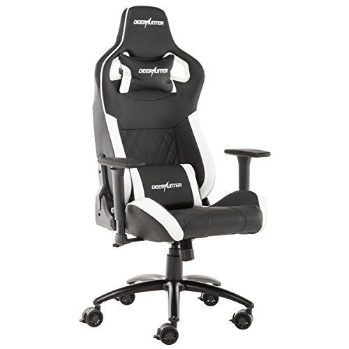 Deerhunter Gaming Chair, Leather Office Chair, High Back Ergonomic Racing Chair, Adjustable Computer Desk Swivel Chair with Headrest and Lumbar Support (White&Black)