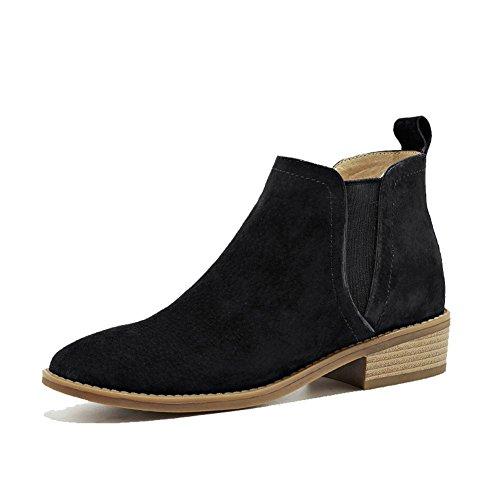 elástica KHAKI de tacón corto zapatos caliente botas 35 comodidad 40 piel Señoras tobillo wdjjjnnnv Casual ngPfRW1x