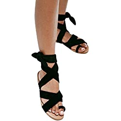 Syktkmx Womens Lace up Strappy Toe Ring Cute Summer Beach Flat Dress Gladiator Sandals