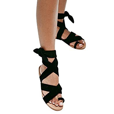 4efffd0c43332 Syktkmx Womens Lace Up Strappy Toe Ring Cute Summer Beach Flat Dress  Gladiator Sandals