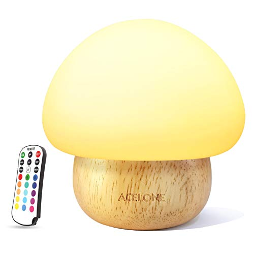 Night Lights for Kids, ACELONE Baby Nursery Lamp,LED mushroom night light, Eye Caring, Adjustable Brightness & Color with Remote Control -