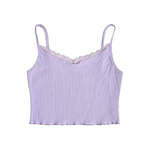 Verdusa Women's Contrast Lace Spaghetti Strap Ribbed Knit Crop Cami Top