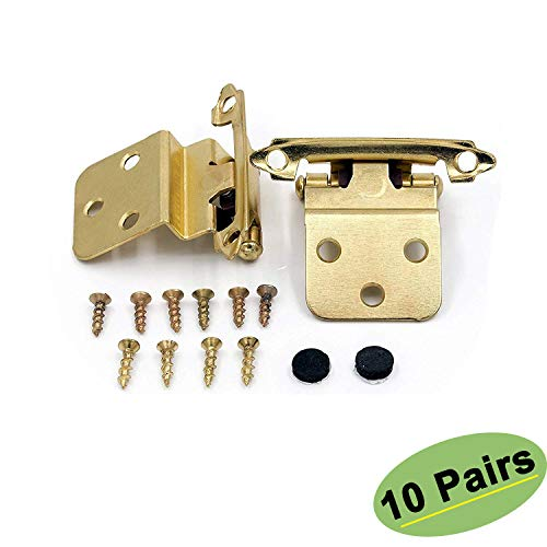 Solid Cabinet Brass Hinge - Kitchen Cabinet Hardware Hinges Inset 10 Pairs(20Pack) - Homdiy SCH38BB 3/8inch Gold Hinges for Cabinets Self-Closing Face Mount Brushed Brass Inset Hinges Furniture Harware