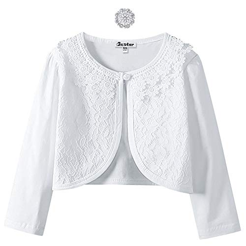 Brooch Design Floral - Lace Bolero Long Sleeve Shrugs for Big Girls Party Church Cardigan Birthday Gift