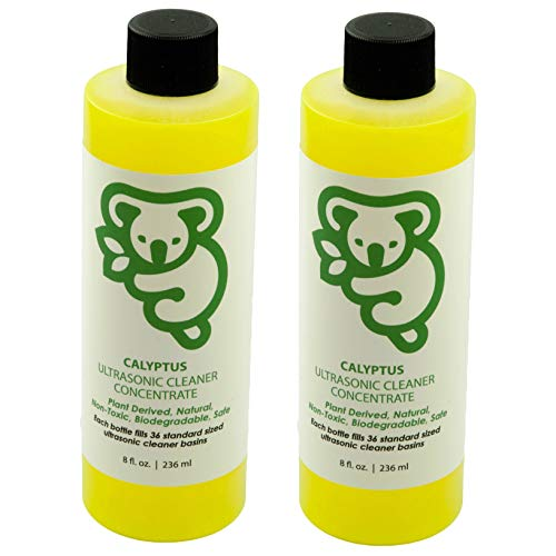 Calyptus Ultrasonic Jewelry Cleaner Concentrate | 100% Natural, Non-Toxic, and Safe | Diamond, Gemstone, Gold, Silver, and Eyeglass Sonic Cleaning Solution | 72 Machine Refills, 16 Ounces ()