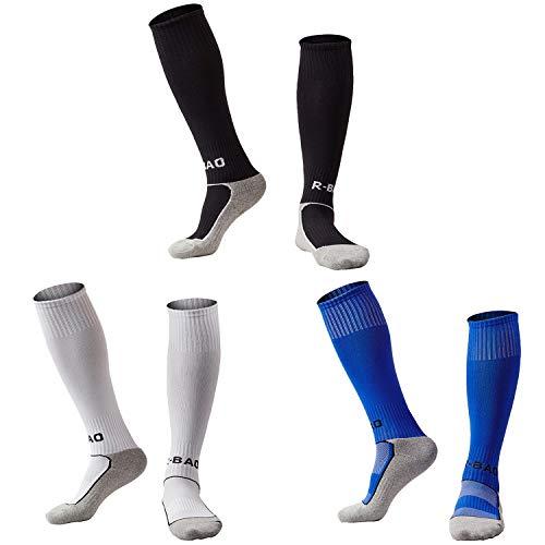 - Kids Youth Soccer Socks Knee High Cotton Towel Bottom Sport Compression Long Tube Football Socks for Boys/Girls Black+White+Blue -S
