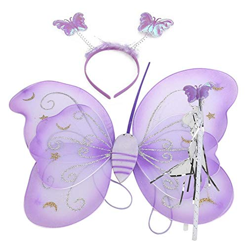 Party DIY Decorations - Set Of 3pcs Children Kids Butterfly Wing Wand Headband Fairy Cosplay Party Fancy Costume - Paints Size Patches Nonstick Plates Children Necklace Eyelashes -