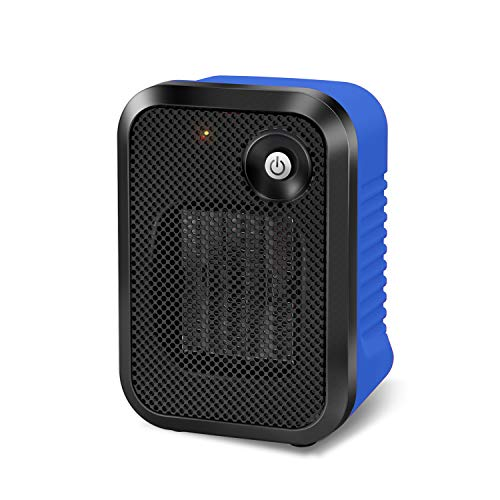 andily Space Electric Small Heater for Home&Office Indoor Use on Desk with Safety Power Switch PTC 500W BLUE