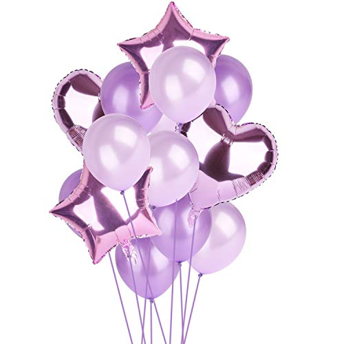 14pcs 12inch 18inch Multi Happy Birthday Party Balloon Decorations Wedding Festival Party Supplies,Purple -