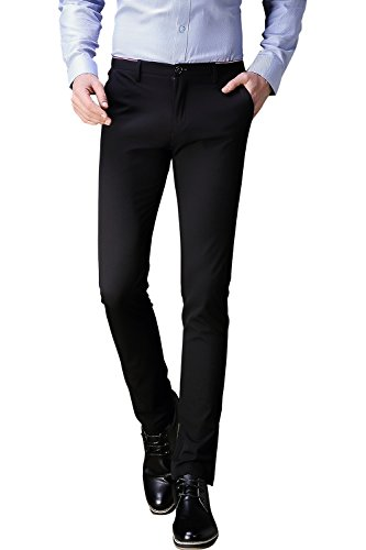 FLY HAWK Mens Business Dress Pants Stretchy Straight Leg Trousers Black 34 - Men Formal Pants
